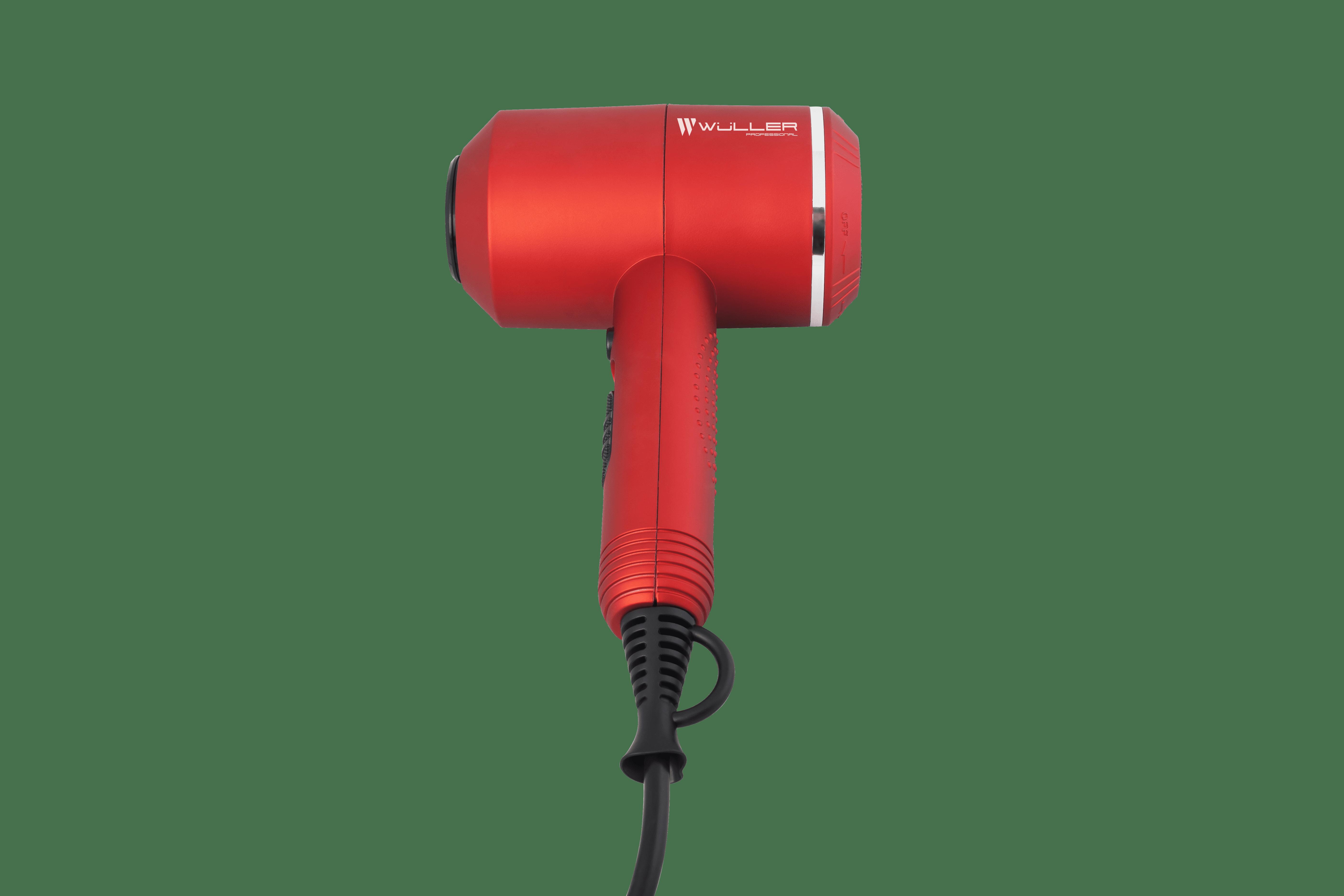 Фен Wuller Harvey, красный, c диффузором, IONIC, 2000W, кноп. спер. + 2 насадки + дифф.  (WF.421RD)